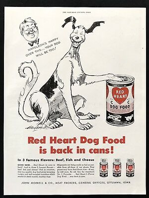1947 Vintage Print Ad 40's Red Heart Dog Food Illustration Pet Puppy
