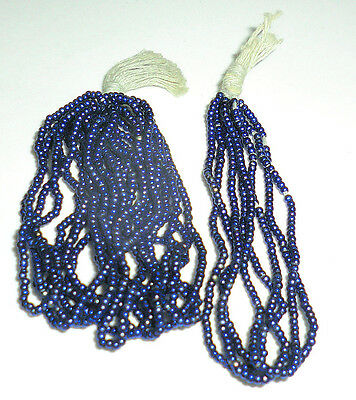 Rare Antique French Dark Blue Metallic Metal Beads Full 9.9 Grams 30-BPI