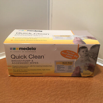 Medela QUICK CLEAN WIPES for Breastpumps & Accessories HYGIENIC 40 Packs NEW