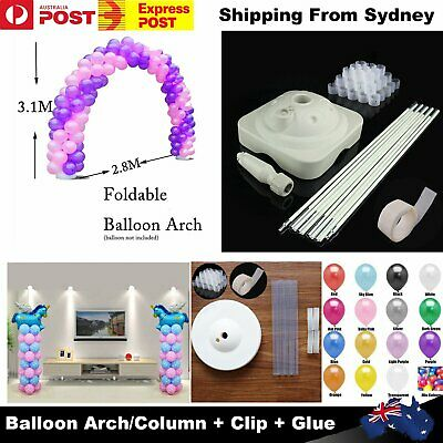 3.1x 2.8M Pearl Balloon Arch Stand Pot Kit Clips / 100 Helium Balloons Wedding