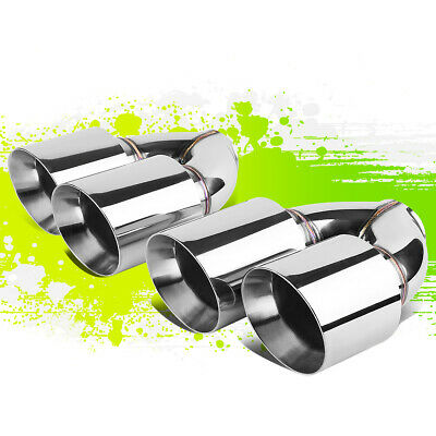 "2Pcs Polished Stainless Steel Dual Rolled Exit Exhaust Mufffler Tips 2.5""Id 4""Od"