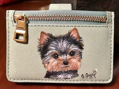 Hand Painted Art Yorkshire Terrier YORKIE dog Leather Fossil Card ID Holder