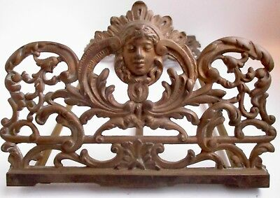 As Is  Art Nouveau Brass Plated Expanding Book Rack Faces On Each End Unmarked
