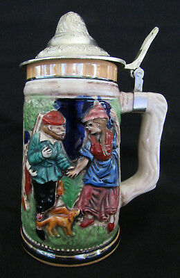 Vintage Ceramic Beer Stein w Pewter Lid + Raised Hunting & Schloss Anholt Scenes