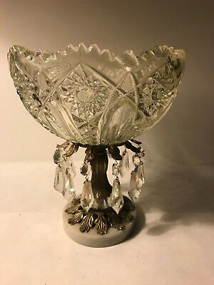Antique crystal compote brass marble glass prisms dish