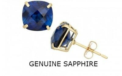 Radiant Blue Sapphire Earrings 14k Yellow Gold Plated Women Jewelry Gift E243