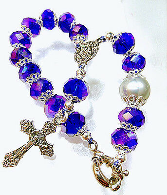 Antique Vintage Style 10Mm Blue Crystal Grey Silver Pearl Rosary Bracelet