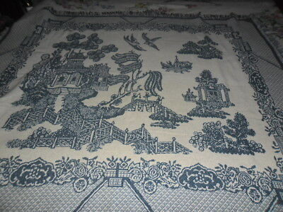 Blue Willow Throw Rug 120Cm X 148Cm Excluding Fringe.
