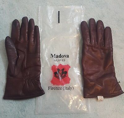 VTG MADOVA Firenze Italy Ladies Gloves Size 7.5 Brown Soft Leather Cashmere NEW