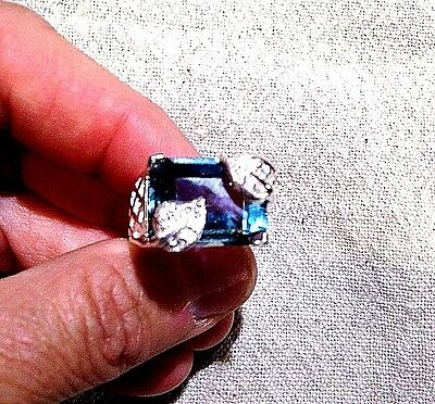 Antique Green Genuine Flourite Real White Sapphire 925 Sterling Silver Ring