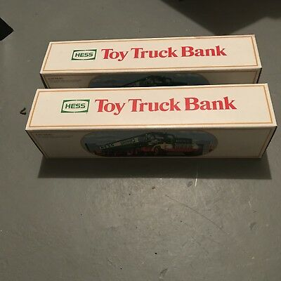 Vintage (2) 1984 Hess Toy Truck Bank With Box