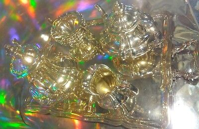 #18c ic4pc Solid Sterling silver 4902g Antique Tea Coffee Set Melon ALPACCA RARE