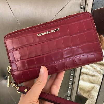 Michael Kors Jet Set Large Multifunction Phone Case Wristlet Wallet Mulberry