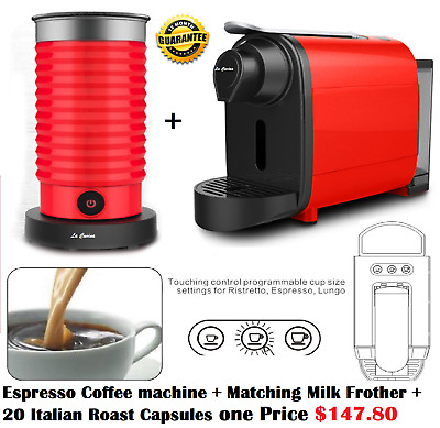New Nespresso coffee pod system coffee Machine + frothier RED La Cucina