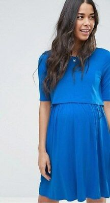 ASOS Maternity NURSING Skater blue Dress With Double Layer -Size 20
