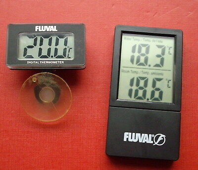 Fluval inside outside Fish Tank Thermometer x 2 Digital Working Aquarium