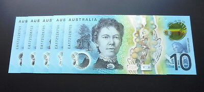 2017 $10 Ten Dollar Last Prefix EA17 Consecutive Run of 5 Notes UNC