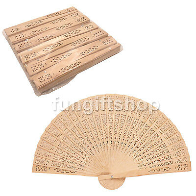 12pcs Chinese Traditional Style Incense Wood Hollow Out Folding Hand Dance Fan