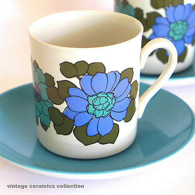 !960s 70s Retro Vintage MYOTT Staffordshire Katrina Coffee Cup & Saucer Duo Blue