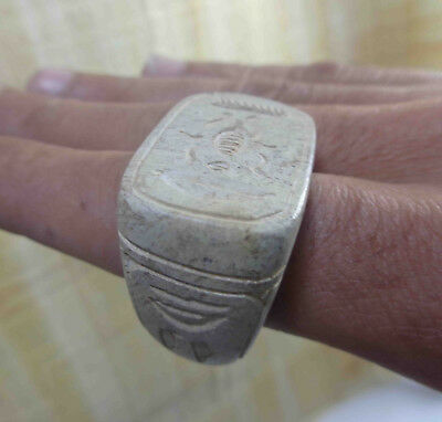 Egyptian Rare Faience Scarab Pharaoh Engraved Finger Ring Seal Hieroglyphic #172
