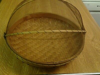 Bamboo food tent basket 250mm diameter
