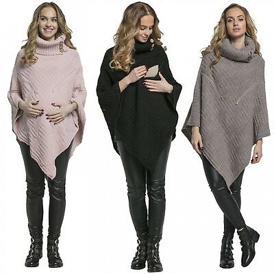 Happy Mama Women's Maternity Nursing Knit Poncho Sweater Jumper Polo Neck 904p