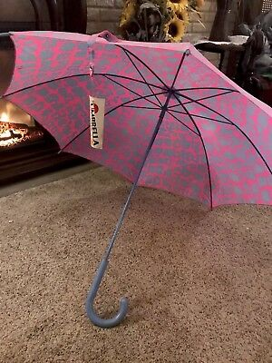 "Vintage Umbrella Pink and Blue With Rubber Handle ant Tip 35"" Open NWT"