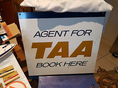"""TAA LARGE """"BOOK HERE"""" METAL SIGN!! Measures approx. 500mm square. RARE!!"""