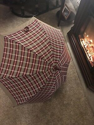 "Vintage Umbrella Tan and Burgundy Plaid With Rubber Handle ant Tip 35"" Open"