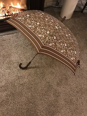 "Vintage Umbrella Taupe and Pink Flowered -  With Rubber Handle ant Tip 35"" Open"