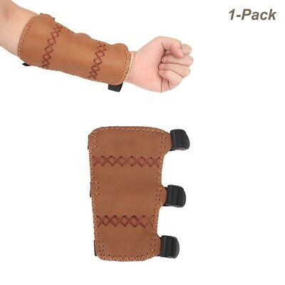 ((Adult), Brown) - Krayney Adult Youth Leather 3-Strap Arm Guard Hunting