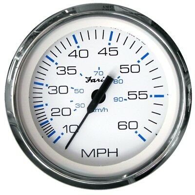 (white, 60mph) - Faria Chesapeake White SS 10cm Speedometer - 60MPH (Mechanical)