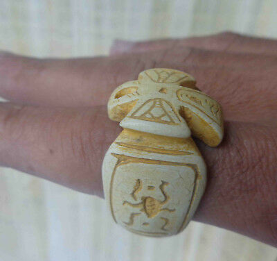 Egyptian Very Rare Faience Ankh Scarab Pharaoh Finger Ring Seal Hieroglyphic #32