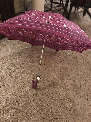 "Vintage Umbrella Purple, White & Blue Trim With Rubber Handle ant Tip 35"" Open"