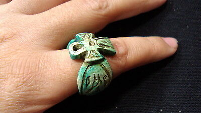 Egyptian Rare Faience Ankh Pharaoh Engraved Finger Ring Seal Hieroglyphic #181