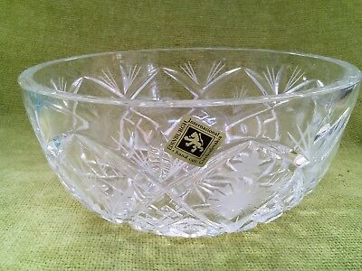 Edinburgh Crystal Cut Glass large fruit bowl etched flower design continental