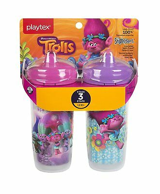 Sipsters Stage 3 Trolls Insulated Spill Proof Spout Cups 9 Oz 2 Packs for 12m+