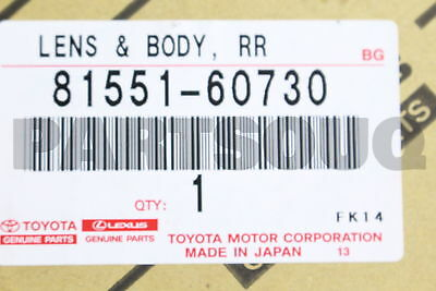 8155160730 Genuine Toyota LENS & BODY, REAR COMBINATION LAMP, RH 81551-60730