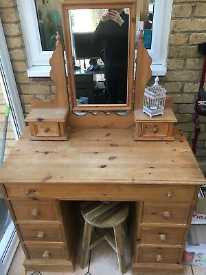 Pine Desk Antique Beautiful Office Dressing Table Mirror Draws Storage