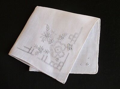 Vintage Beautifully Hand Embroidered/drawn Thread Fine White Cotton Handkerchief