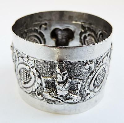 Interesting INDIAN SOLID SILVER Repousse NAPKIN RING c1900