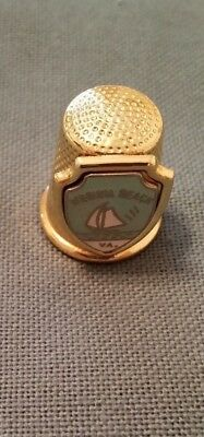 Vintage Virginia Beach Va. Gold Tone Steel Metal  Collectible Thimble