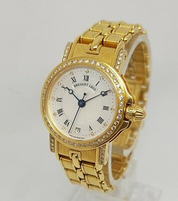 Breguet Marine 18k Yellow Gold Automatic 26mm Ladies Diamond MOP Dial Watch
