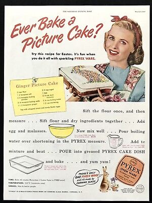 1947 Vintage Print Ad 40's PYREX Ovenware Bake Cake Image Bunny Rabbit
