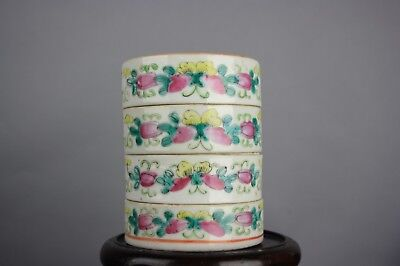 20th C. Chinese Four Stacking Famille-Rose Covered Boxes