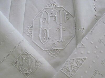 "ANTIQUE FRENCH LINEN FIL SHEET "" CT"" monogram HAND EMBROIDERED 2 CASES XIXc  95"""