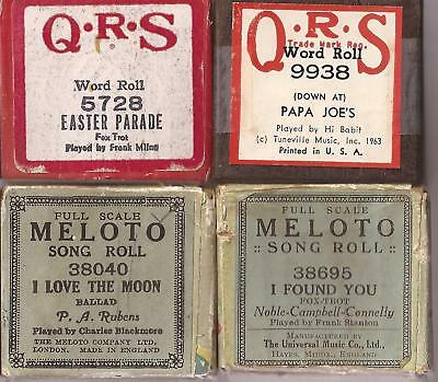 Pianola Rolls x4 QRS Easter Parade + Papa Joes + I Love the Moon + I Found You