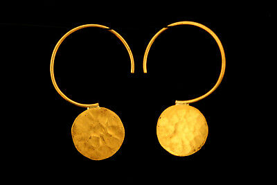 24 Carat Gold Disk Earrings PURE Solid Gold Earrings Ethnic Hammered Earrings