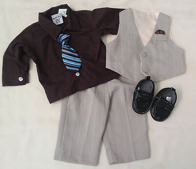 INFANT BOYS SUIT by HAPPY FELLA - 2 pc suit, vest, shirt, tie, shoes sz 6-9 M
