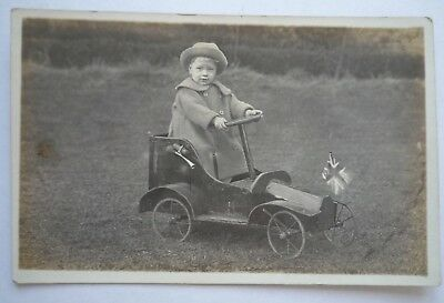 Old Vintage Rp Postcard Young Boy Wearing Hat In Toy Car Social History